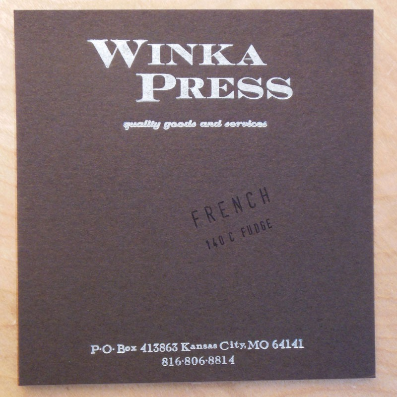 Silver ink Dark Brown cardstock